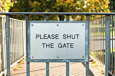 The Pathway Photograph - Gate Sign by Tom Gowanlock