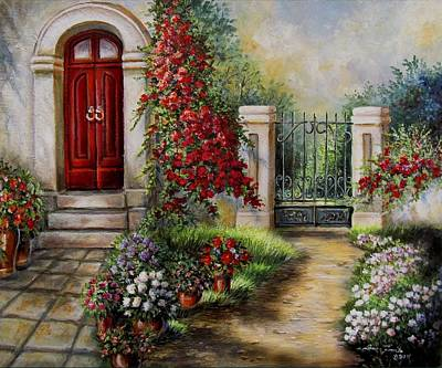 Spring Scenes Painting - Gate To The Hidden Garden  by Regina Femrite