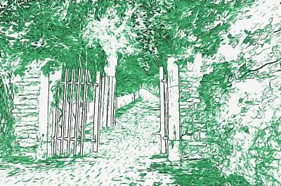 Fallen Leaf Drawing - Gated Path by L Wright