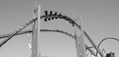 Roller Coaster Photograph - Gatekeeper Roller Coaster Black And White by Dan Sproul