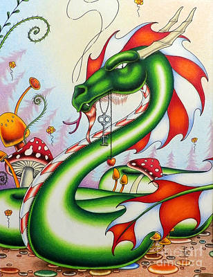 Mushroom Mixed Media - Gateway Dragon by Robert Ball