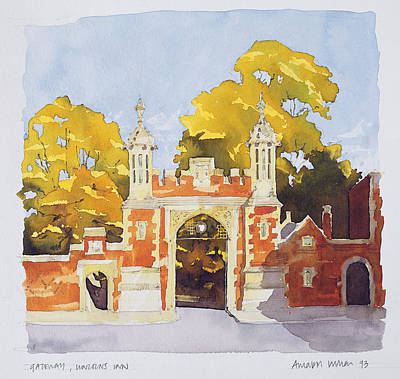 Brick Building Drawing - Gateway  Lincoln's Inn by Annabel Wilson