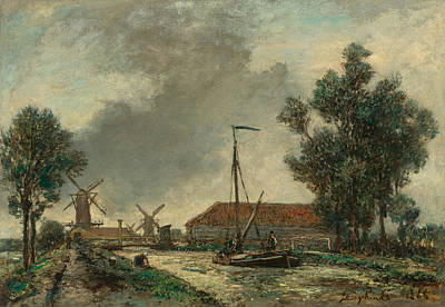 Netherlands Painting - Gateway. Netherlands by Johan Barthold Jongkind