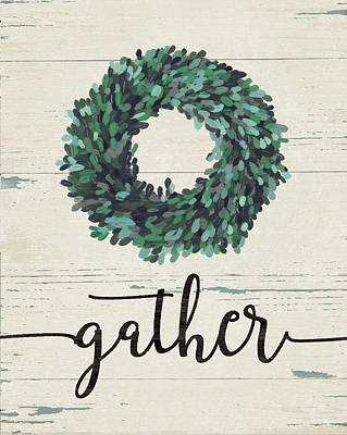 Wreath Painting - Gather Wreath by Jo Moulton