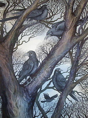 Painting - Gathering A Murder Of Crows II by Helen Klebesadel