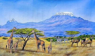 Gathering At Mount Kilimanjaro Art Print