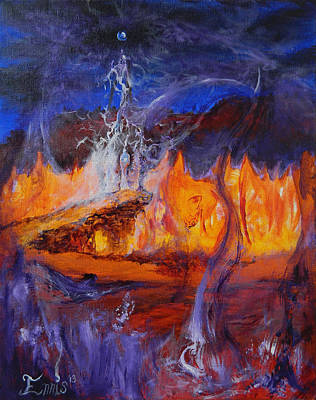 Painting - Gathering At Samhain's Bluff by Christophe Ennis