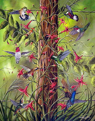 Avian Painting - Gathering At The Fencepost by David G Paul