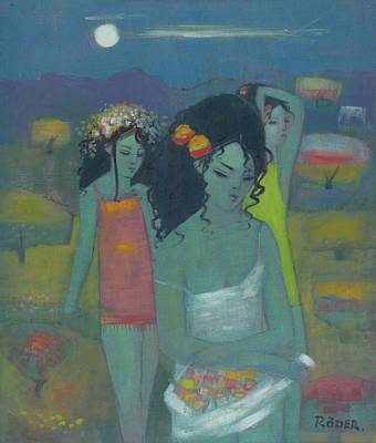 Gathering Fruit Oil On Board Art Print by Endre Roder