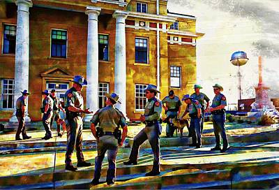 Digital Art - Gathering In Front Of The Courthouse by Carrie OBrien Sibley