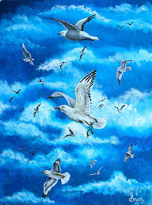 Albatross Painting - Gathering Of Gulls by Jim Bowers