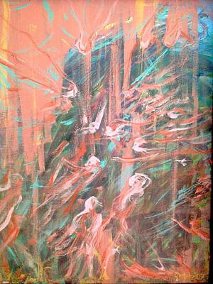 Floating Girl Painting - Gathering Of The Spirits by Romelette Metz