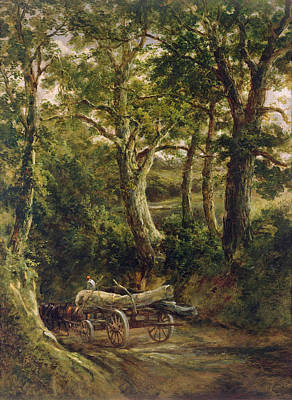 Horse And Cart Photograph - Gathering Timber Oil On Canvas by Henry Earp