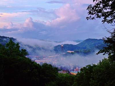 Rights Managed Images - Gatlinburg Wrapped In Fog Royalty-Free Image by Steven Ellis
