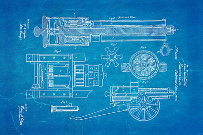 Gatling Machine Gun Patent Art 1862 Blueprint Print by Ian Monk