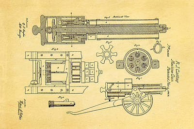 Gatling Machine Gun Patent Art 1862 Art Print by Ian Monk