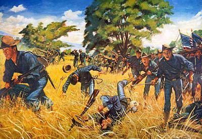 San Juan Painting - Gatlings To The Assault by Granger