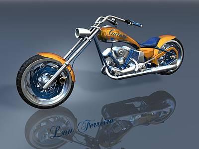 Digital Art - Gator Panhead Chopper by Louis Ferreira