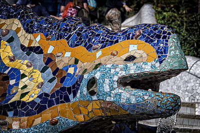 Mosaic Photograph - Gaudi Dragon by Joan Carroll