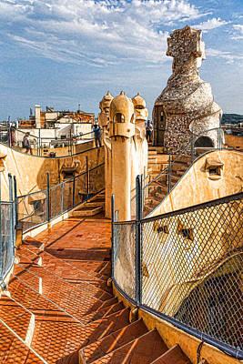 Gaudi Fascinating La Pedrera Rooftop - Impressions Of Barcelona Art Print
