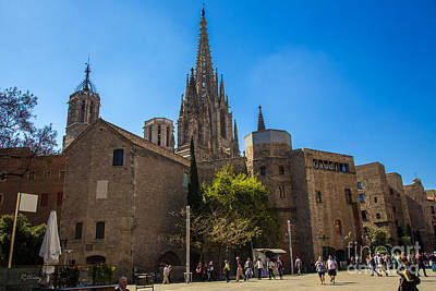 Photograph - Gaudi Gothic Cathedral Barcelona Spain by Rene Triay Photography