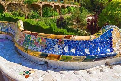 Digital Art - Gaudi's Park Guell - Impressions Of Barcelona by Georgia Mizuleva