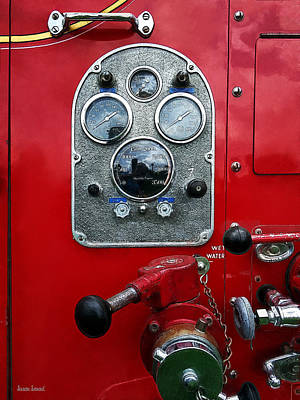 Photograph - Gauges On Vintage Fire Truck by Susan Savad