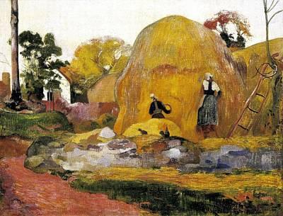 Gauguin, Paul 1848-1903. Yellow Art Print by Everett