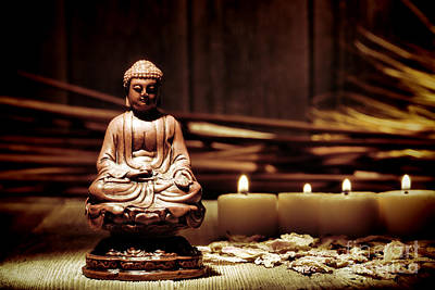 Meditating Photograph - Gautama Buddha by Olivier Le Queinec