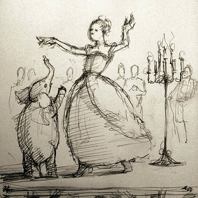 Period Drawing - Gavotte by H James Hoff