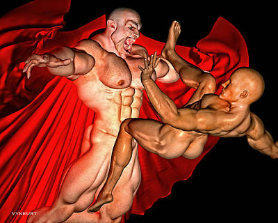 Gay Vampire Art Nude Naked Male Bodybuilder Skinhead Monster Cape Halloween Horror Goth Gothic Queer Art Print