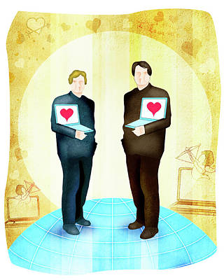 Gay Couple Standing With Laptops Art Print