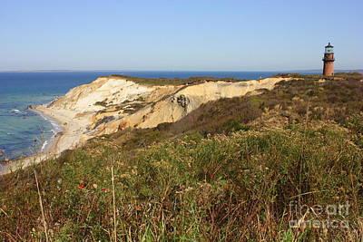 Gay Head Lighthouse With Aquinnah Beach Cliffs Print by Carol Groenen