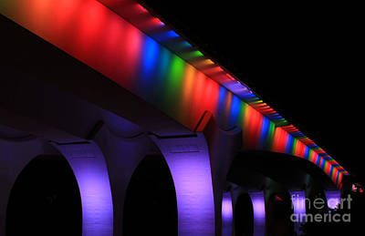 Photograph - Gay Pride Rainbow Lights On 35w Bridge by Heidi Hermes