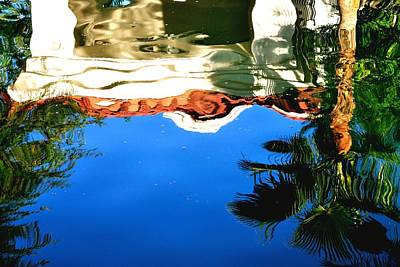 Jerry Sodorff Royalty-Free and Rights-Managed Images - Gazebo and Trees Reflection 29481 by Jerry Sodorff