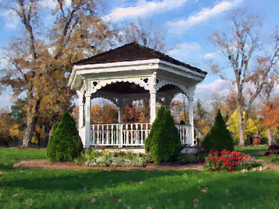 Art Print featuring the photograph Gazebo At Olmsted Falls - 1 by Mark Madere