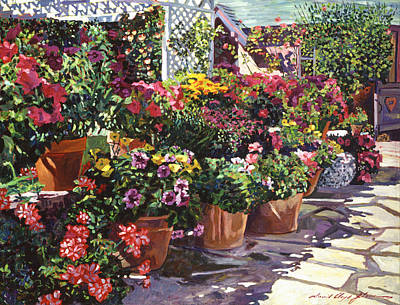 Gazebo Painting - Gazebo Garden by David Lloyd Glover