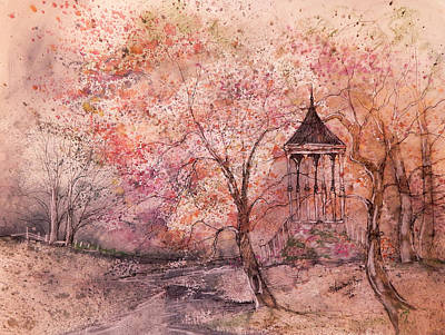 Gazebo In Red Art Print by Anna Sandhu Ray