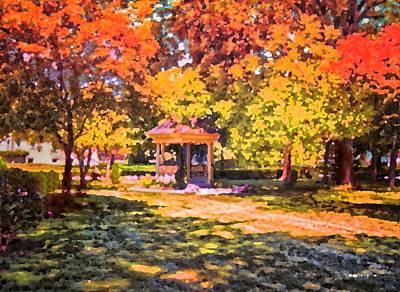 Gazebo On A Autumn Day Art Print by Thomas Woolworth