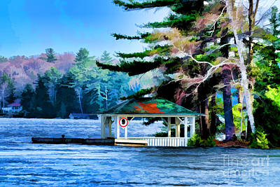 Photograph - Gazebo On Blue Lake by Les Palenik