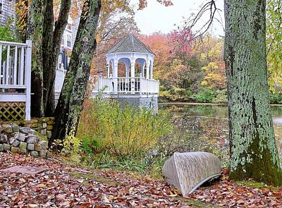 Gazebo On Pond -  Fall Scene Art Print by Janice Drew