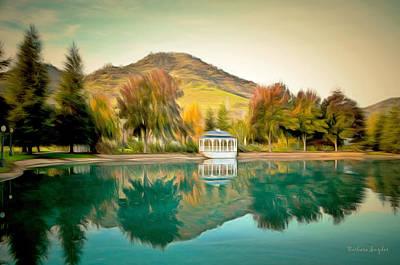Landscape Digital Painting - Gazebo Reflection by Barbara Snyder