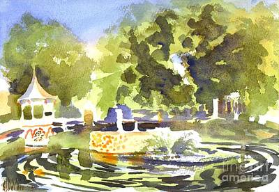 Impressionistic Landscape Painting - Gazebo With Pond And Fountain II by Kip DeVore