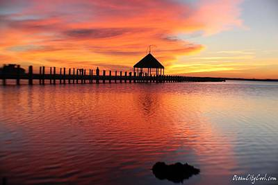 Gazebo's Sunset Reflection Art Print