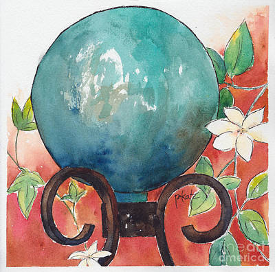 Garden Ornament Painting - Gazing Ball by Pat Katz