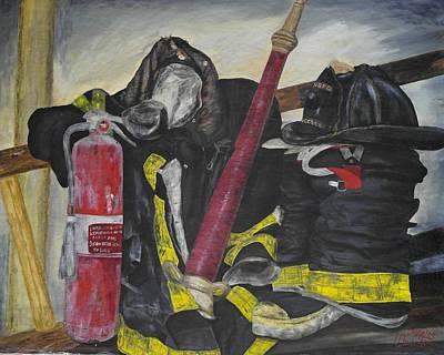 Fire Gear Painting - Gear by Genevieve  Bascetta