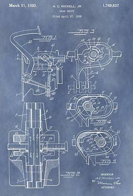 Gear Shift Patent Art Print