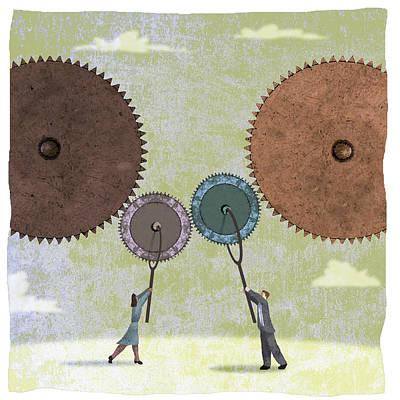 Gear Wheels Art Print