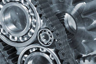 Gear Photograph - Gears And Cogs Titanium And Steel Power by Christian Lagereek