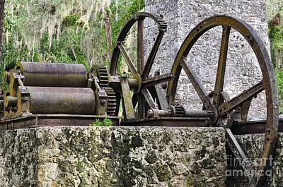 Gear Photograph - Gears And Press At The Old Sugar Mill by Wayne Nielsen